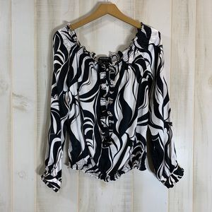 White House Black Market Silk Off Shoulder Top XL
